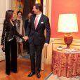 Joachim et Marie de Danemark lors d'un dîner de gala à l'ambassade de France à Copenhague le 5 février 2014.