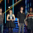 """EXCLUSIF - Nouvelle star 2014. Mathieu, Pauline, Alvaro et Yseult sur le huitième prime de la """"Nouvelle Star 2014"""", le 6 février 2014."""