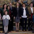 Letizia d'Espagne recevant en audience à la Zarzuela une délégation de la FEDER et de la FEDRA (les fédérations des maladies rares d'Espagne et du Portugal), le 10 février 2014 à Madrid.
