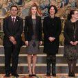 La princesse Letizia d'Espagne au palais de la Zarzuela le 10 février 2014, lors d'une journée d'audiences.