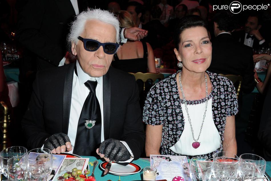 Karl Lagerfeld et la princesse Caroline de Hanovre lors du Bal de la Rose 2013