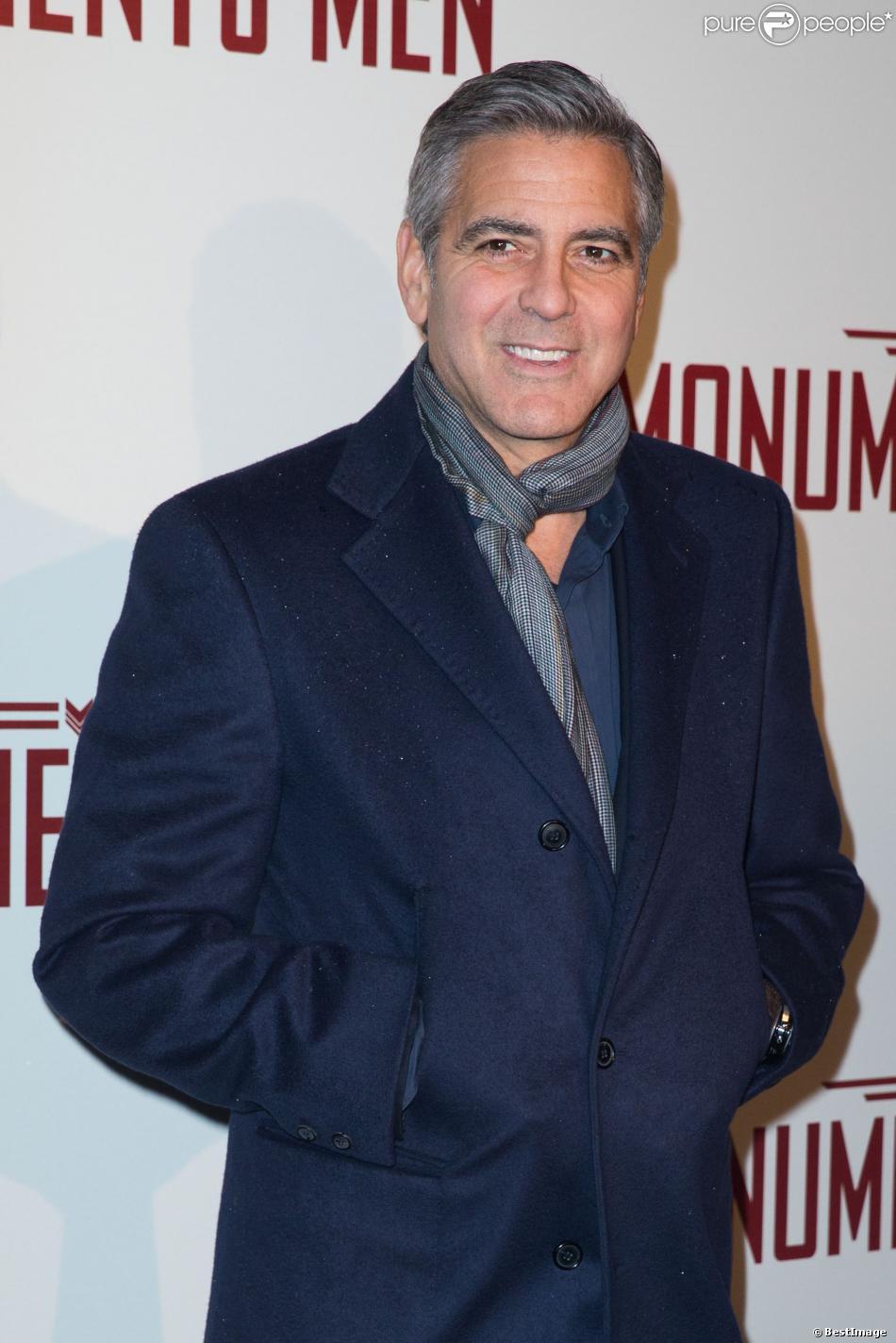 George Clooney lors de l'avant-première du film The Monuments Men à Paris le 12 février 2014