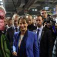 Ségolène Royal, présidente de la région Poitou-Charentes, visite, accompagnée de Guillaume Garot, ministre délégué chargé de l'Agroalimentaire, le 51e Salon de l'Agriculture, Porte de Versailles à Paris, le 27 février 2014.