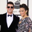 Robin Thicke et sa femme Paula Patton lors de la 56e cérémonie des Grammy Awards à Los Angeles le 26 janvier 2014