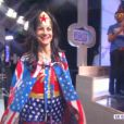 Isabelle Morini-Bosc déguisée en Wonderwoman ( Touche pas à mon poste , le mardi 4 mars 2014 sur D8.)