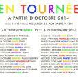 Après quelques dates cet été en festival, Pascal Obispo partira en tournée dans toute la France à partir du 11 octobre 2014.