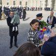 La princesse Victoria lors de la cérémonie organisée à l'occasion du jour de la Sainte Victoria dans la cour intérieur du palais royal à Stockholm, le 12 mars 2014.