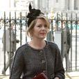 Serena Linley se rend à une messe en hommage à Sir David Frost à Westminster Abbey à Londres, le 13 mars 2014.