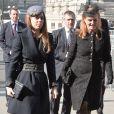 La princesse Beatrice et Sarah Ferguson se rendent à une messe en hommage à Sir David Frost à Westminster Abbey à Londres, le 13 mars 2014.