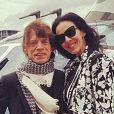L'Wren Scott et Mick Jagger avant de partir pour Glastonbury en 2013.