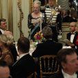 Le président turc Abdullah Gül et la reine Margrethe II de Danemark ont prononcé chacun un discours et porté un toast au dîner de gala donné au palais Christian VII, à Copenhague, le 17 mars 2014 en l'honneur de la visite officielle du couple présidentiel turc.