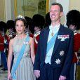 La princesse Marie et le prince Joachim de Danemark lors de la réception donnée le 12 mars 2014 au palais de Christiansborg pour les membres du gouvernement et parlementaires danois.