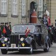 Visite officielle du président turc Abdullah Gül et son épouse Hayrünnisa au Danemark, reçus par la reine Margrethe II et le prince consort Henrik au palais royal Amalienborg à Copenhague le 17 mars 2014