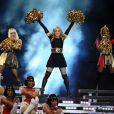Nicki Minaj, Madonna et M.I.A lors du Super Bowl XLVI à Indianapolis. Février 2012.