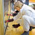 La reine Maxima et le roi Willem-Alexander des Pays-Bas ont aidé à repeindre une grange au parc animalier Akkertje de Rijswijk, le 21 mars 2014 pour la 10e Journée du bénévolat organisée par leur fondation, le Fonds Orange.