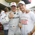 Michael Schumacher et Nico Rosberg lors du Grand Prix de Formule 1 du Brésil, à Sao Paulo le 25 Novembre 2012.