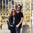 Poppy Montgomery et Shawn Sanford devant le château de Versailles, le 22 septembre 2012.