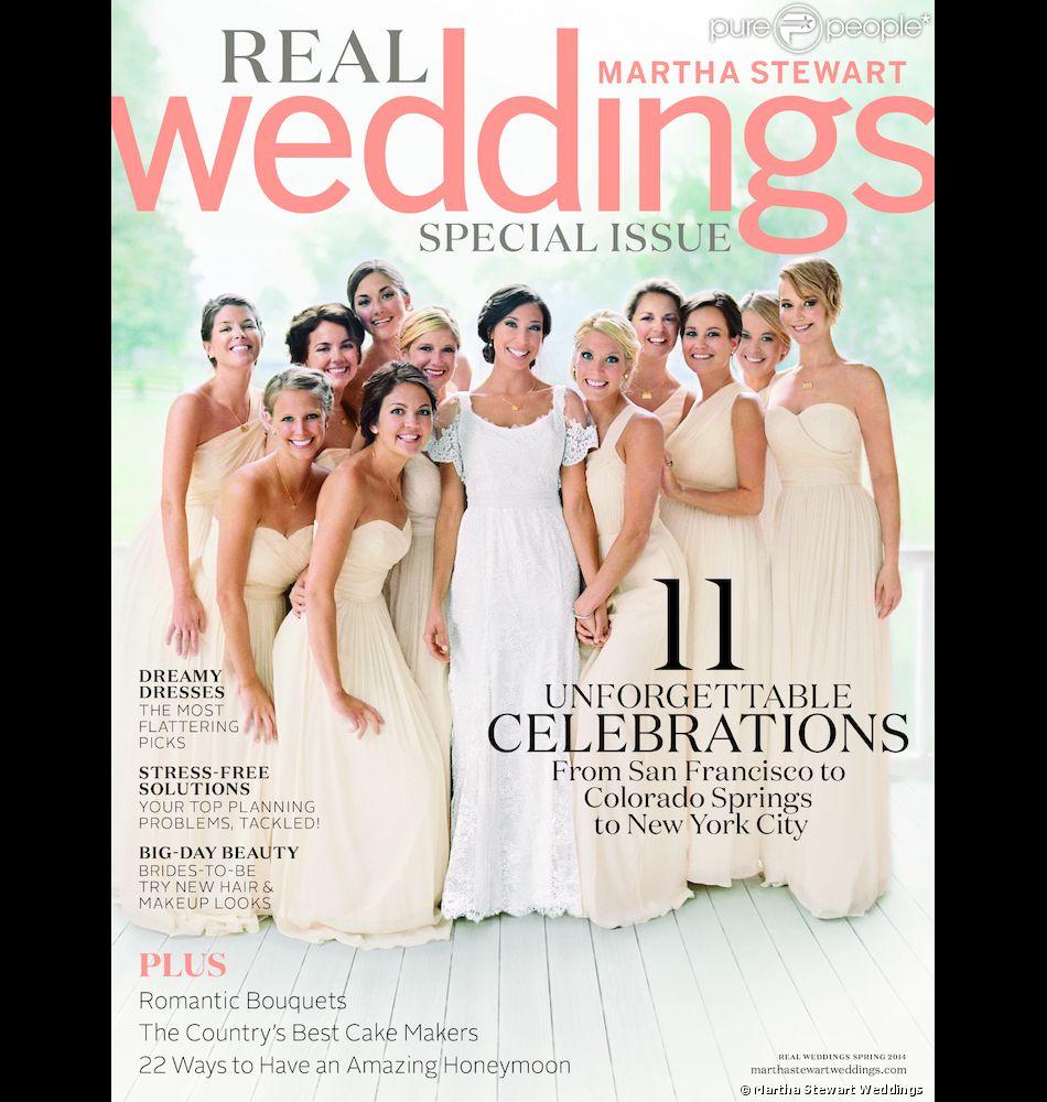 Jennifer Lawrence en demoiselle d'honneur pour le mariage de son frère Blaine, en couverture du magazine Martha Stewart Weddings.