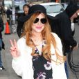 """Lindsay Lohan arrive dans les studios de l'émission """"The Late Show With David Letterman"""" à New York. Le 7 avril 2014."""