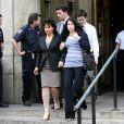 Anne Sinclair et Camille, la fille de Dominique Strauss-Kahn, sortent du tribunal après avoir demandé la libération sous caution de DSK, 19 mai 2011, New York