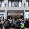 Kate Moss lance sa collection pour Topshop, dans la boutique de la marque anglaise, à Oxford Circus. Londres, le 29 avril 2014.