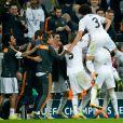 Les joueurs du Real explosent de joie lors de la demi-finale retour de la Ligue des champions à l'Allianz Arena de Munich entre le Bayern Munich et le Real Madrid, match remporté 4-0 par les Madrilènes le 29 avril 2014