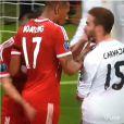 Franck Ribéry met une gifle à Dani Carjaval, le 29 avril 2014 lors de la demi-finale retour de Ligue des Champions entre le Bayern Munich et le Real Madrid à l'Allianz Arena de Munich (victoire 4-0 des Madrilènes)