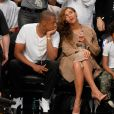 Jay Z et Beyoncé lors du match de playoffs de NBA opposant les Brooklyn Nets aux Miami Heat. Brooklyn, le 10 mai 2014.