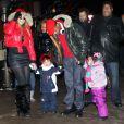 Mariah Carey et Nick Cannon avec leurs enfants Monroe et Moroccan Cannon en vacances à Aspen, le 23 décembre 2013.