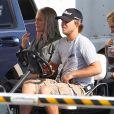 """Exclusif - Julianne Moore, les cheveux longs et gris, pour le tournage du film """"Hunger Games: La Révolte"""" à Atlanta, le 20 septembre 2013."""