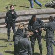 Jennifer Lawrence, Liam Hemsworth, Josh Hutcherson, Mahershala Ali ou encore Natalie Dormer tournent Hunger Games : La Révolte à Noisy-Le-Grand, près de Paris, le 15 mai 2014.