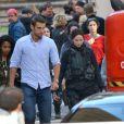 """Exclusif - Jennifer Lawrence sur le tournage du troisième film """"Hunger Games : La révolte"""" à Noisy-le-Grand le 14 mai 2014."""