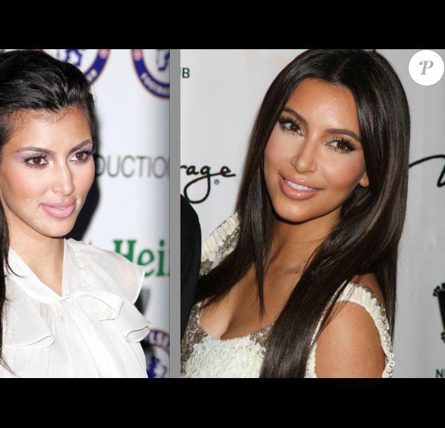 La transformation de Kim Kardashian. A gauche en 2007 avec des yeux plus ronds et un nez plus imposant. A droite, en 2012, avec le visage un peu trop tiré et un nez beaucoup plus fin et court.