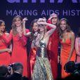 Irina Shayk, Ana Beatriz Barros, Alessandra Ambrosio, Karlie Kloss, Jourdan Dunn, Julia Restoin Roitfeld et Sharon Stone lors de la vente aux enchères du gala de l'amfAR. Antibes, le 22 mai 2014.