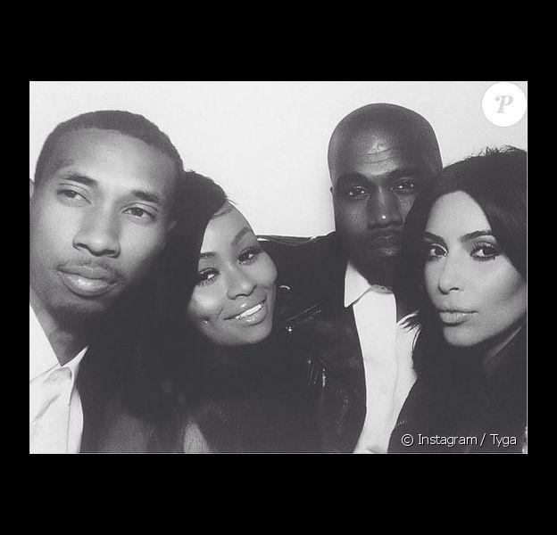 Tyga, Blac Chyna, Kanye West et Kim Kardashian lors de la fête du mariage de Kanye et Kim. Florence, le 24 mai 2014.