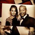 Chrissy Teigen et John Legend assistent au mariage de Kim Kardashian et Kanye West. Florence, le 24 mai 2014.