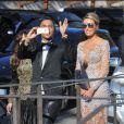 Robin Antin (à gauche) et Olivier Rousteing arrivent au Fort Belvedere pour assister au mariage de Kim Kardashian et Kanye West. Florence, le 24 mai 2014.