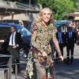 Franca Sozzani arrive au Fort Belvedere pour assister au mariage de Kim Kardashian et Kanye West. Florence, le 24 mai 2014.