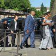 Les invités du mariage de Kim Kardashian et Kanye West arrivent au Fort Belvedere. Florence, le 24 mai 2014.