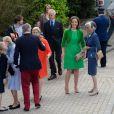 La princesse Claire de Belgique était rayonnante pour la première  communion de ses fils les princes Nicolas et Aymeric de Belgique le 29 mai 2014 à l'église Sainte-Catherine de Bonlez.