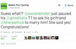 Jos van Emdem : En plein Giro, il s'arrête et... demande sa belle en mariage !