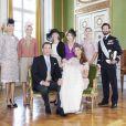Photo officielle prise au palais le jour du baptême de la princesse Leonore de Suède, fille de la princesse Madeleine et de Christopher O'Neill, le 8 juin 2014 à Stockholm