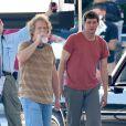 Jim Carrey et Jeff Daniels sur le tournage de Dumb and Dumber To à Atlanta, le 4 octobre 2013.
