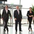 William Hague accompagné de Brad Pitt et Angelina Jolie au End Sexual Violence in Conflict Summit, à Londres, le 12 juin 2014.