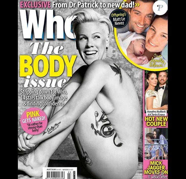 La chanteuse Pink en couverture du magazine australien Who Magazine, daté de juin 2014.
