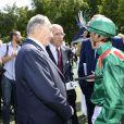 L'Aga Khan, Alain de Royer-Dupré et Christophe Soumillon lors du 165e Prix de Diane Longines à l'hippodrome de Chantilly le 15 juin 2014