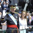 Le roi Felipe et la reine Letizia lors de la cérémonie d'investiture du nouveau roi à Madrid le 19 septembre 2014