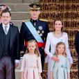 Le roi Felipe, la reine Letizia et leurs filles lors de la cérémonie d'investiture du nouveau roi à Madrid le 19 septembre 2014