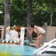 Falcao avec sa belle épouse Lorelei et leur fille Dominique profitent de leurs vacances à Miami, le 19 juin 2014