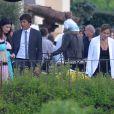 Laura Pausini, Leonardo et sa femme Anna Billo lors du mariage d'Eros Ramazzotti et Marica Pellegrinelli à la Villa Sparina à Monterotondo di Gavi, Italie, le 21 juin 2014